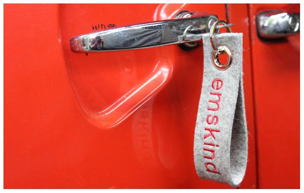 emskind-Schlüsselanhänger aus 3 mm starkem Wollfilz