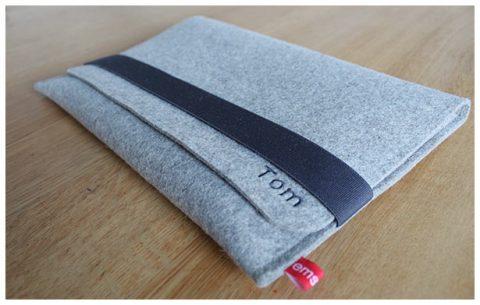Laptoptasche aus 3 mm starkem grauem Wollfilz