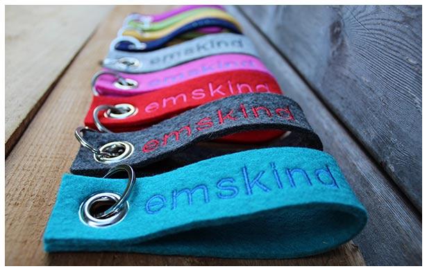 emskind Schlüsselanhänger in vielen verschiedenen Farben