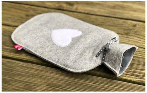 Kuschelige Wärmflasche aus 2 mm dickem Wollfilz